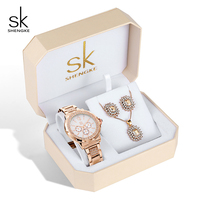 Shengke Luxury Women Watches Set 2019 New Fashion Stainless Steel Watches Ladies Rose Gold Earrings Necklace Set Gifts For Women