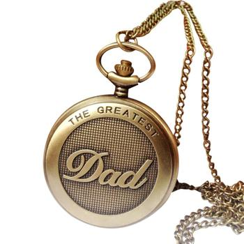 2017 NEW Vintage Chain Retro The Greatest Pocket Watch Necklace For Grandpa Dad Gifts L833