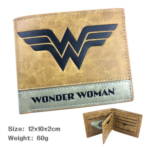 Wellcomics DC Comics Justice League Wonder Woman Symbol Brown Short Wallet PU Purse Handbag Holder Layers Bag Unisex Otaku Gift
