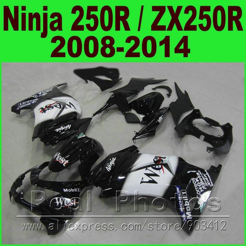 WEST Kawasaki Ninja 250R Fairings kit 2008 2009 - 2013 2014 year model ZX 250 EX250 08 09 10 11 12 13 14 fairing body kits M8V6