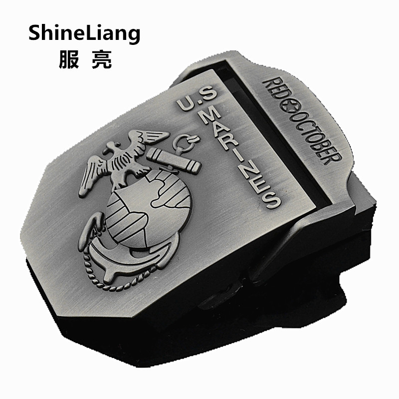2018 Men's Tactical Belt Buckle Alloy Material U.S MARINES Logo Suitable For Military Canvas Width 3.8CM Designer High Quality