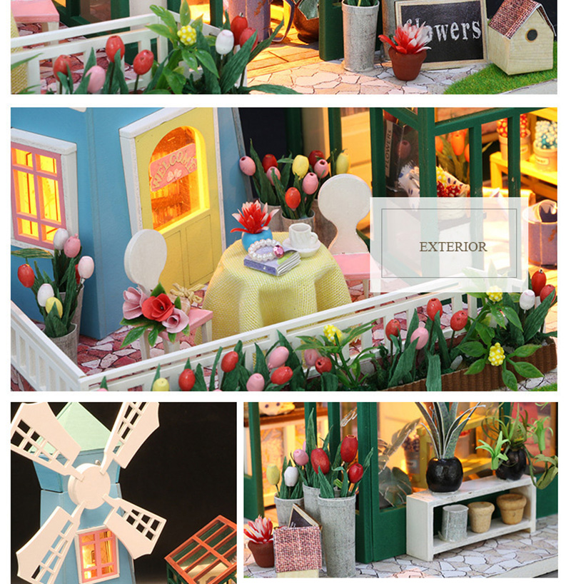 DIY Wooden Miniature Doll House for Children Adult Windmill Flower House with Furnitures Model Building Kits Dollhouse Toys (5)