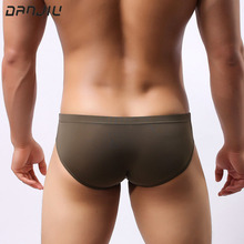 DANJIU Sexy Gay Transparent Male Underwear Ice Silk Summer Man Briefs