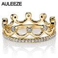 Лучшее Качество Princess Crown 14 К Кольцо Из Желтого Золота Для Женщин Элегантный Благородный Природный Настоящий Бриллиант Кольцо Обручальное Свадебные Украшения