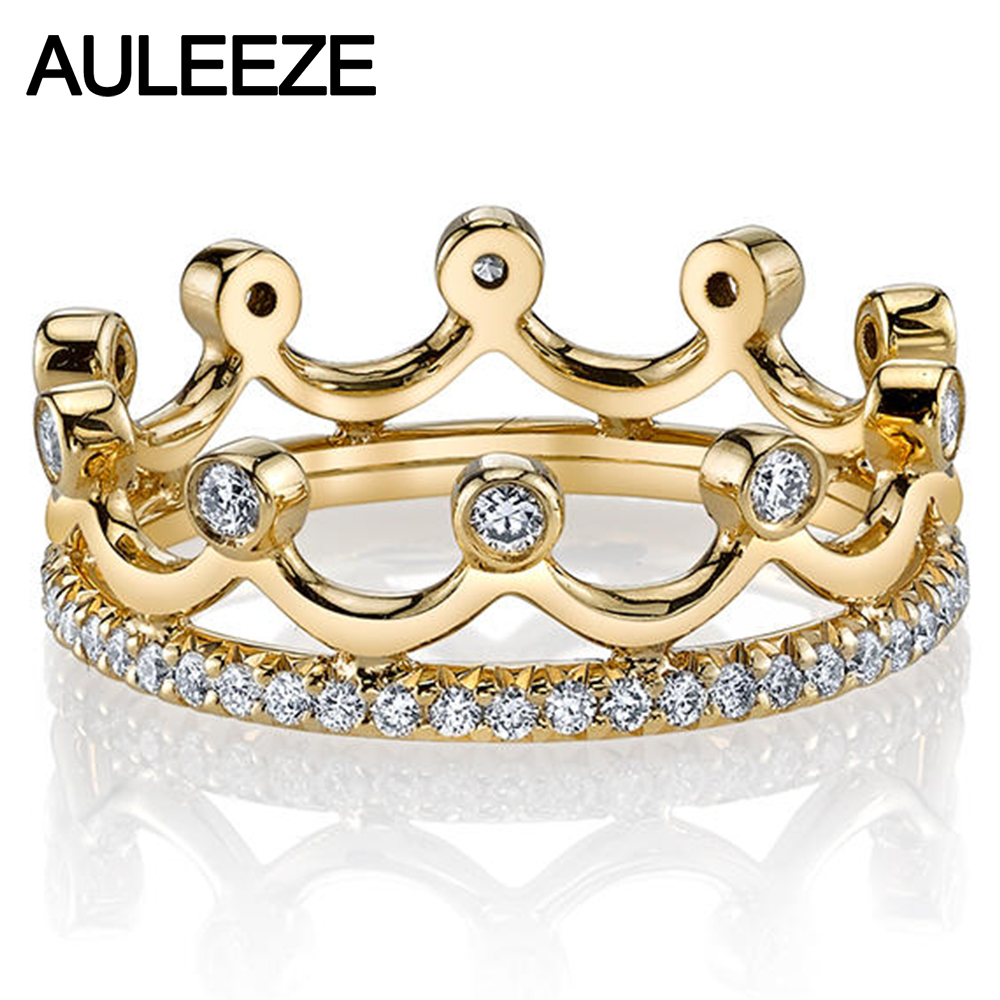 Best Quality Princess Crown 14K Yellow Gold Ring For Women Elegant Noble Natural Real Diamond Ring Engagement Wedding Jewelry