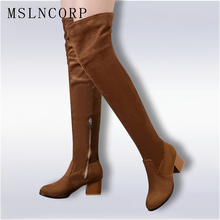Plus Size 34-45 Ladies Autumn Spring Shoes Square High Heel Women Over The Knee Boots Scrub Woman Zip comfort Motorcycle