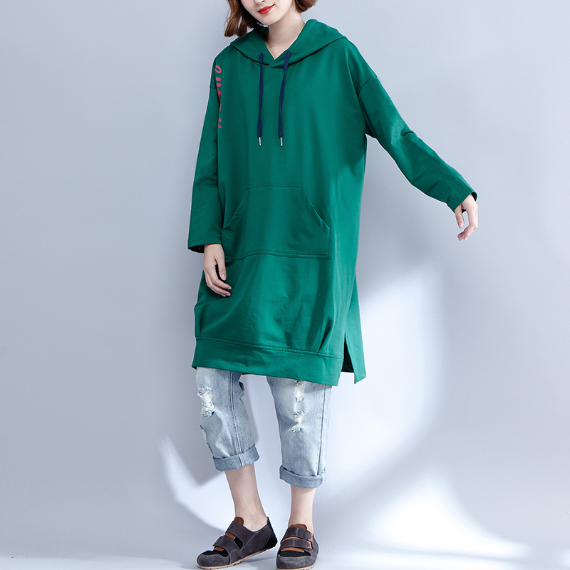 2018 New Hoodies Sweatshirt Women Casual Outwear Hoody Loose Long Sleeve Mantle Hooded Cover Pullover Clothes Green Black