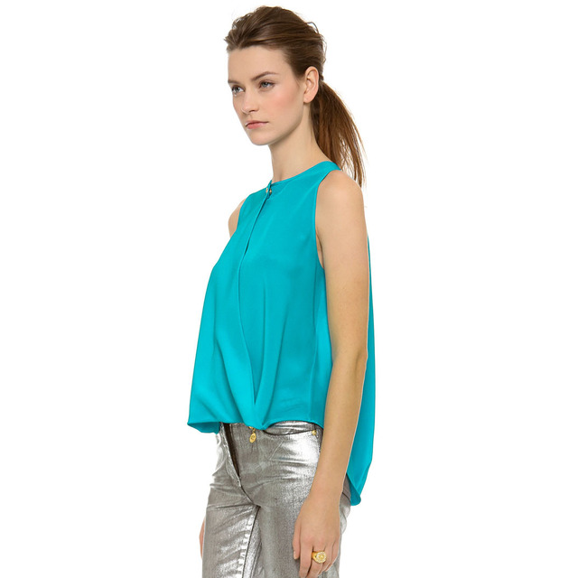 Ropa Mujer Ladies Semi Formal Summer Cool Hot Sale Tops Women Blue Round  Neck Sleeveless Back Hollow Chiffon Loose Blouse B0217 b0b6ab9465