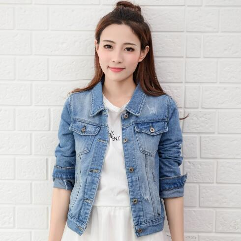 2018 Fashion Jeans Jacket Women Spring 2XL XL Autumn Hand Brush Long Sleeve Stretch Short Denim Jacket White Pink   Coats
