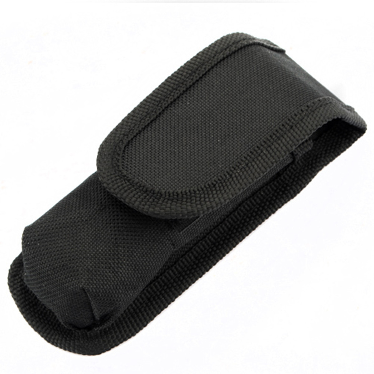 High Quality Black Nylon Magic Sticker Flashlight Holster Pouch Torch Cover Case Belt Bag Folded Size 12.5X4.7X3.5cm