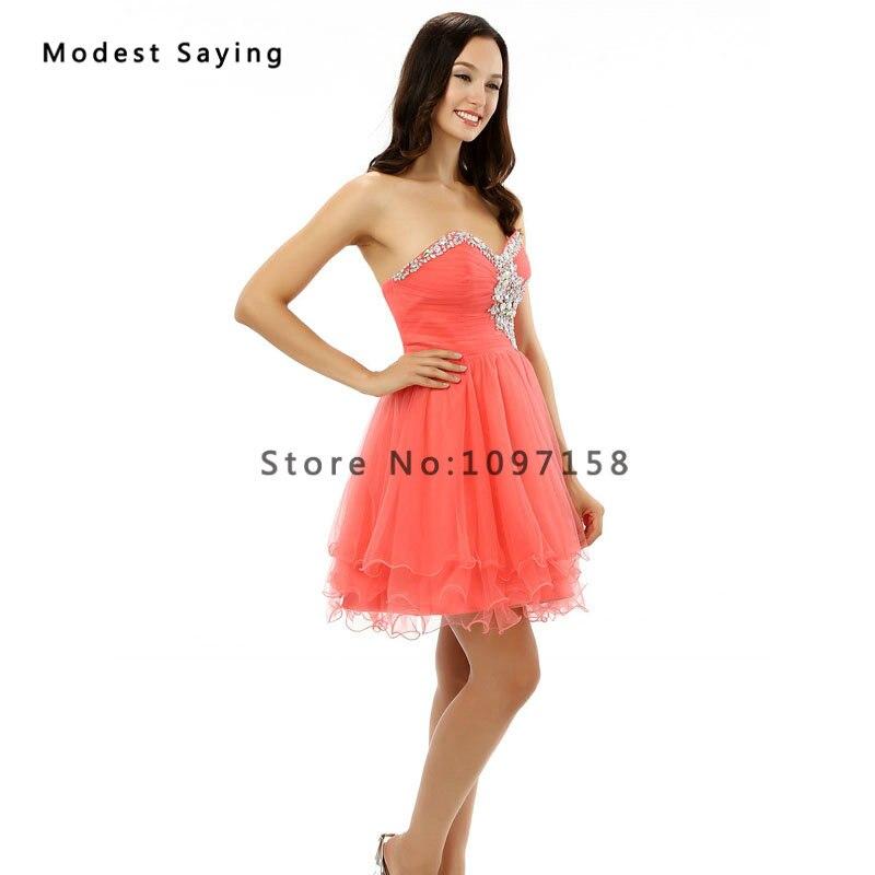 4d3b97288 Nuevo 2017 sexy coral corto Vestidos de fiesta con rhinestone formal 8th  grado graduación vestido de formatura Curto en Vestidos de fiesta de Bodas  y ...