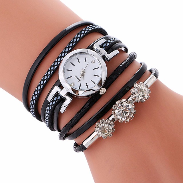Top Brand Fashion Luxury Rhinestone Leather Bracelet Watch Women Ladies Quartz W