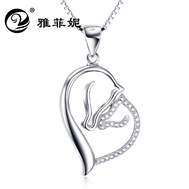 Fe, ni 925 sterling silver accessories double horse pendant crystal necklace sells accessories manufacturers