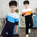 Nuevo otoño muchachos grandes ropa 2 unids conjunto de algodón de manga larga moda casual carta hechizo color de deportes de estilo Coreano 2016 niños kit