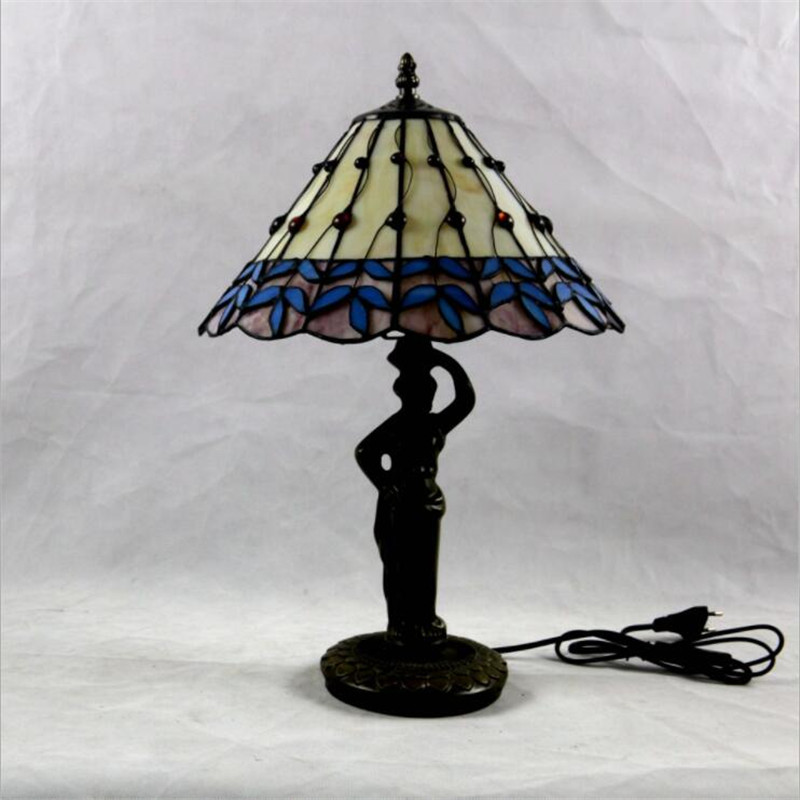 12 quot Vintage Pastoral Tiffany Handmade Glass Table Lamp for Foyer Apartment bar Bed Room European Reading Lighting H 45cm 1026 in LED Table Lamps from Lights amp Lighting