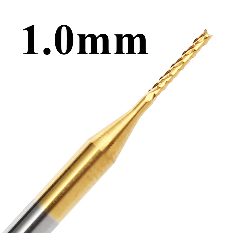 10pcs 1mm Tungsten Steel Titanium Coat Carbide End Mill Engraving Bits CNC PCB Rotary Burrs Milling Cutter Drill Bit 2pc 6 52mm tungsten steel carbide end mill engraving corn teeth bits cnc pcb board rotary burrs milling cutter drill bit