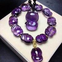 Fine Purple Natural Crystal Bracelet Hand Carved Fengshui Fox Bead Bracelet Luck for Women Safe Amulet Crystal Bracelet Jewelry