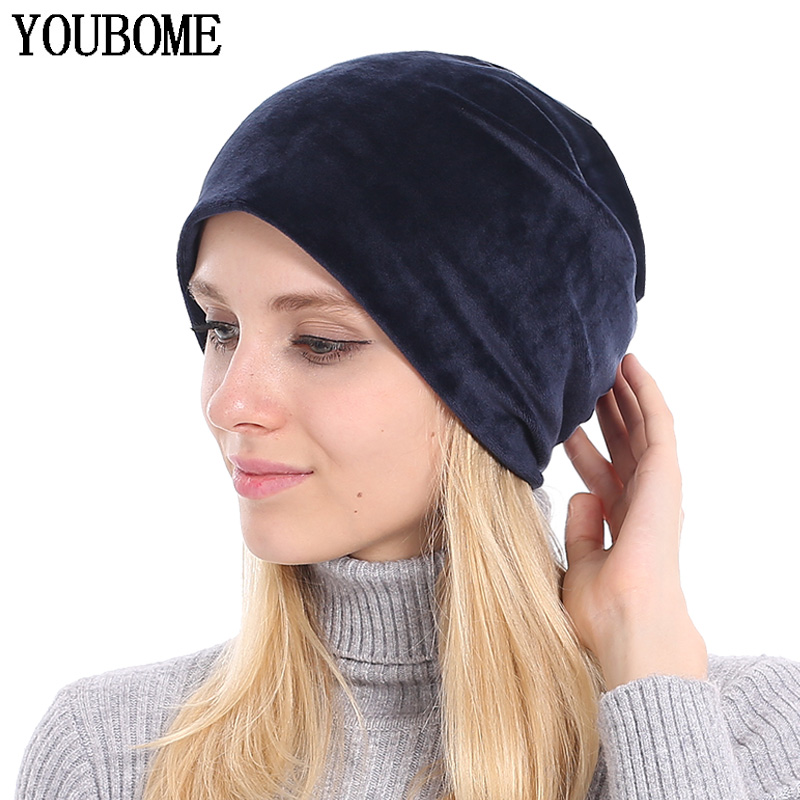 YOUBOME   Beanie   Hat Women Winter Hats For Women   Skullies     Beanies   Baggy Bonnet Velvet Solid Lady Caps Autumn Female Knitted Hat