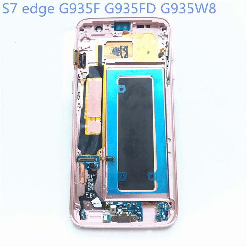 Neue Super AMOLED LCD S7 rand G935F G935FD G935W8 Display 100% Getestet Arbeits Rahmen Touch Screen Für Samsung Galaxy lcd