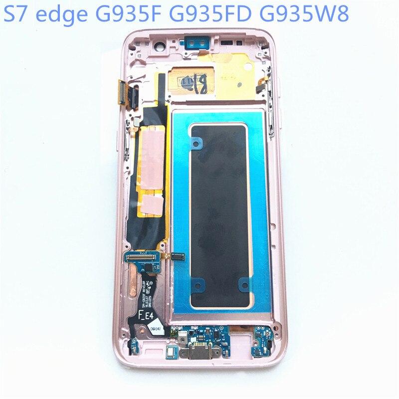 New Super AMOLED LCD S7 bord G935F G935FD G935W8 Affichage 100% Testé Travail Cadre Tactile Assemblée D'écran Pour Samsung Galaxy lcd