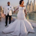 Plus Size Mermaid Bridal Gowns Long Sleeves Lace Wedding Gowns Floor Length African Women Maxi Dresses Sweep Train