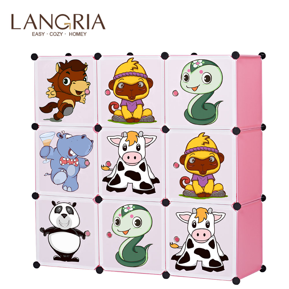 LANGRIA 9 Cube Closet Storage Organizer for Kids Stackable Plastic Cube Shelves Multifunctional Modular Cupboard Cabinet Home