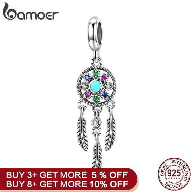 Mid Year Sale 925 Sterling Silver Bohemian Dream Catcher Pendant Charm fit Bracelet & Necklaces Silver DIY Jewelry Making SCC961