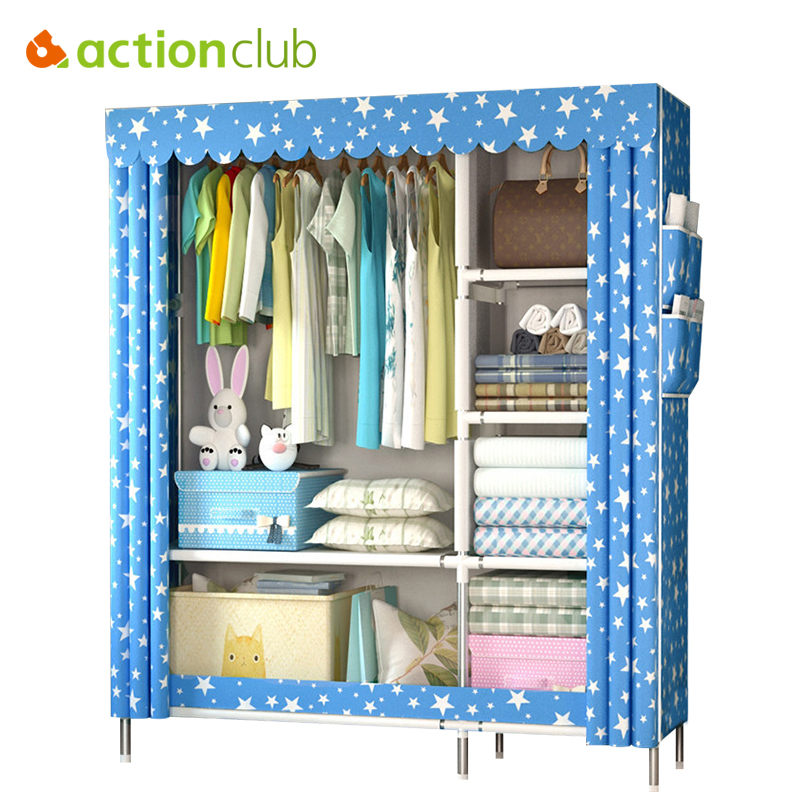 Actionclub Cloth Wardrobe 25mm Thick Reinforcement Pipe Folding Dustproof Wardrobe Multifunction Large Wardrobe Closet Furniture the new cloth wardrobe simple reinforcement of low housing assembly large folding cloth