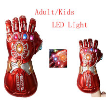 цена на Iron Man Gauntlet LED Red Gloves LED PVC Action Figure Model Toys Gift Halloween Accessories