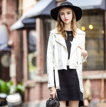 2016 autumn new models in Europe and America women's fashion white letters graffiti pu leather short coat female
