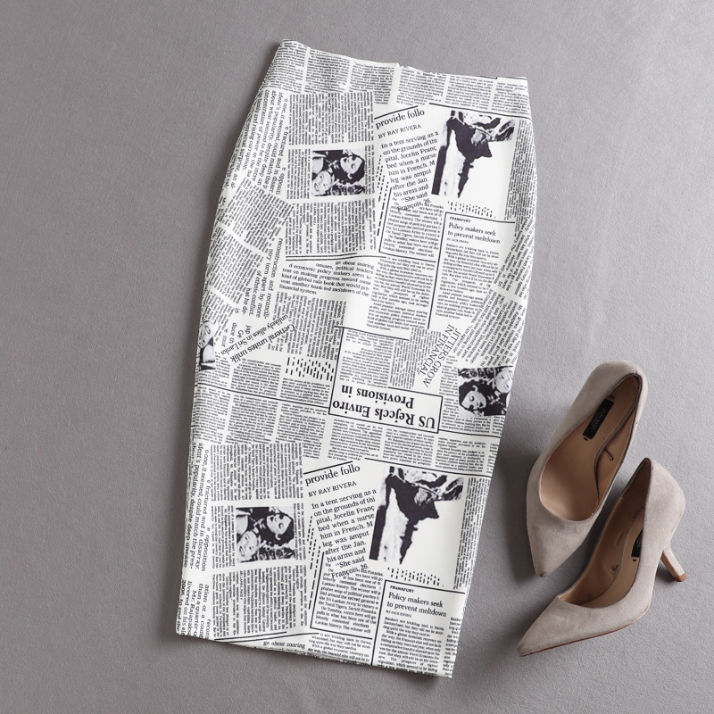 Black White Newspaper Print Pleated High Waist Sexy Ladies Pencil Skirts