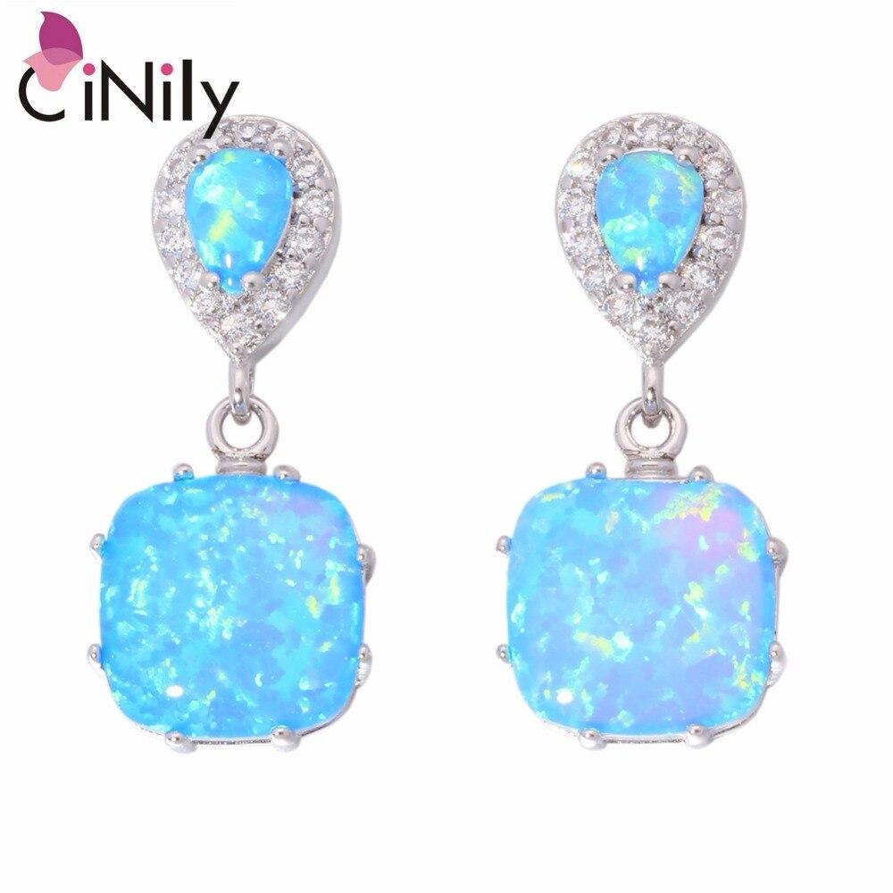 CiNily Created Blue Fire Opal Cubic Zirconia Silver Plated Earrings Wholesale Hot For Women Jewelry Stud Earrings 1