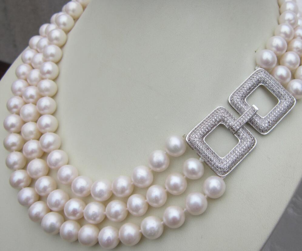 Triple strands AAA 10-11MM south sea white pearl necklace 17-19 inchTriple strands AAA 10-11MM south sea white pearl necklace 17-19 inch