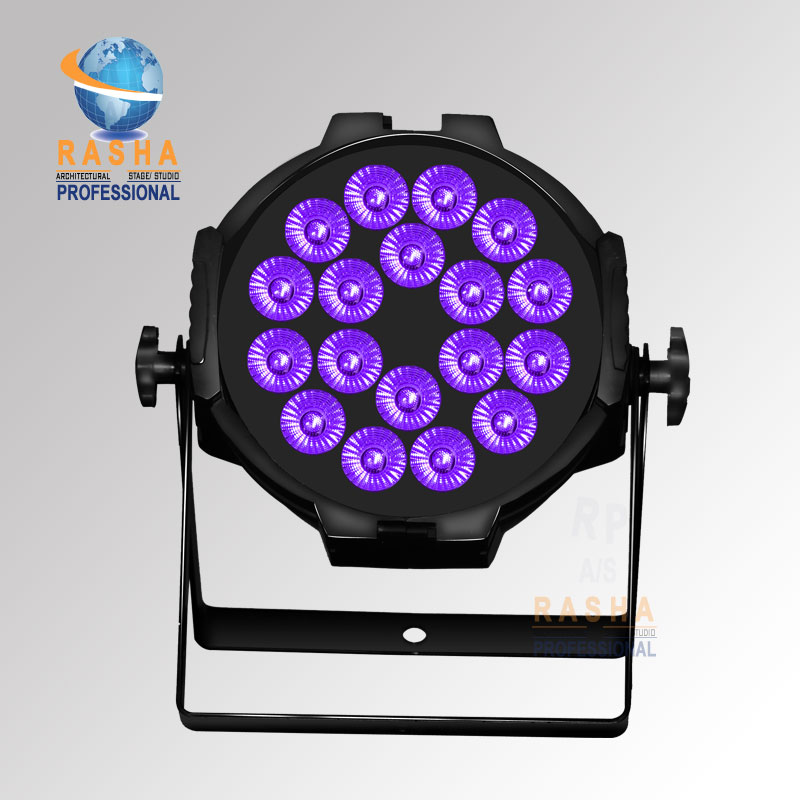 STOCK Discount China Stage Light Rasha 18*15W 5in1 RGBAW Aluminum LED Par Light Par64 Projector With Powercon For Stage Event