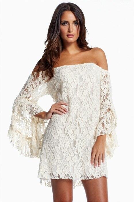 Aliexpress.com : Buy La Chilly dresses 2017 Fashion Cream Lace Off ...