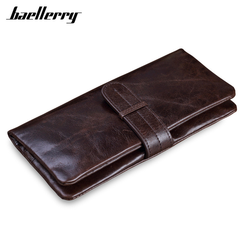 Luxury Brand High Quality 100% Top Genuine Oil Wax Cowhide Leather Men Long Bifold Wallet Purse Vintage Designer Male Carteira
