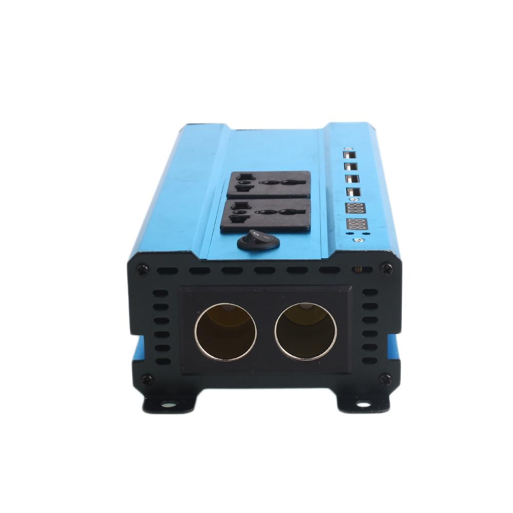 1200 W en alliage d'aluminium DC12V à AC220V convertisseur de voiture onduleur solaire avec 2 prises de cigarettes 4 adaptateur d'alimentation USB