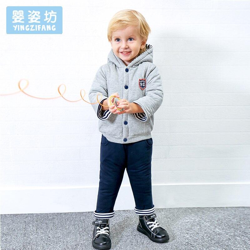 2017 зимний комплект для малышей для маленьких мальчиков милые комплекты одежды с длинными рукавами Повседневное футболка Обувь для девочек ...