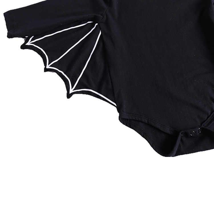 Одежда для новорожденных мальчиков на Хэллоуин костюм летучей мыши с героями мультфильмов черный Детский боди с длинными рукавами комплект одежды для малышей боди для Новорожденный ребенок