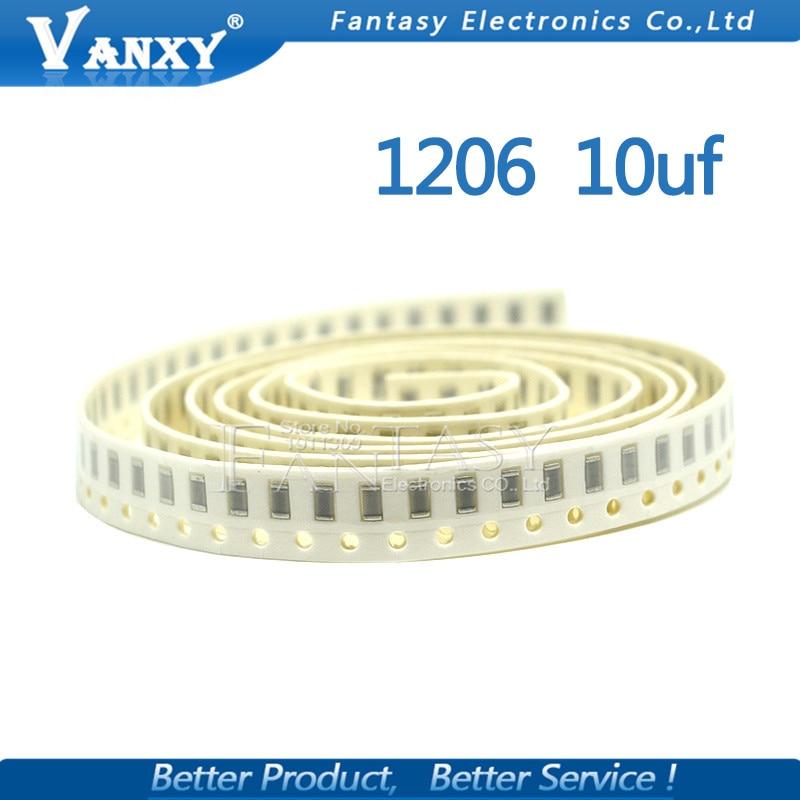 100pcs 10uF X5R Error 10% 16V 1206 106 Smd Capacitor