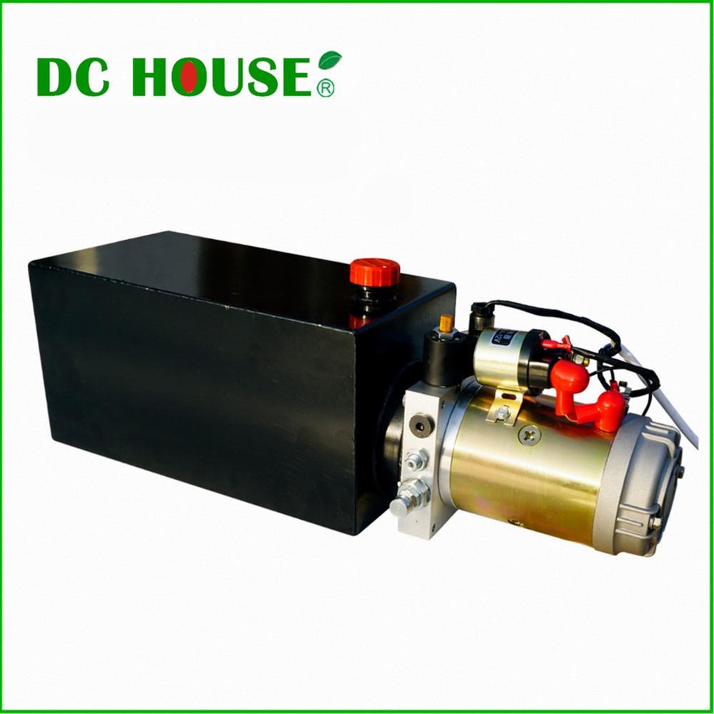 DC HOUSE  High Quality Single Acting Hydraulic Pump 10L 12V Dump Trailer- 10 Quart 3200 PSI Max цены онлайн