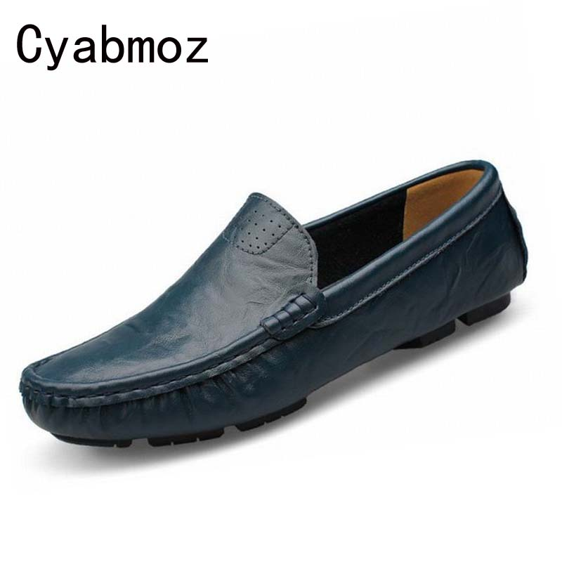Hot handmade men flats shoes plus size loafers Moccasins genuine leather casual driving shoes Soft and breathable man peas shoes 2017 new brand breathable men s casual car driving shoes men loafers high quality genuine leather shoes soft moccasins flats