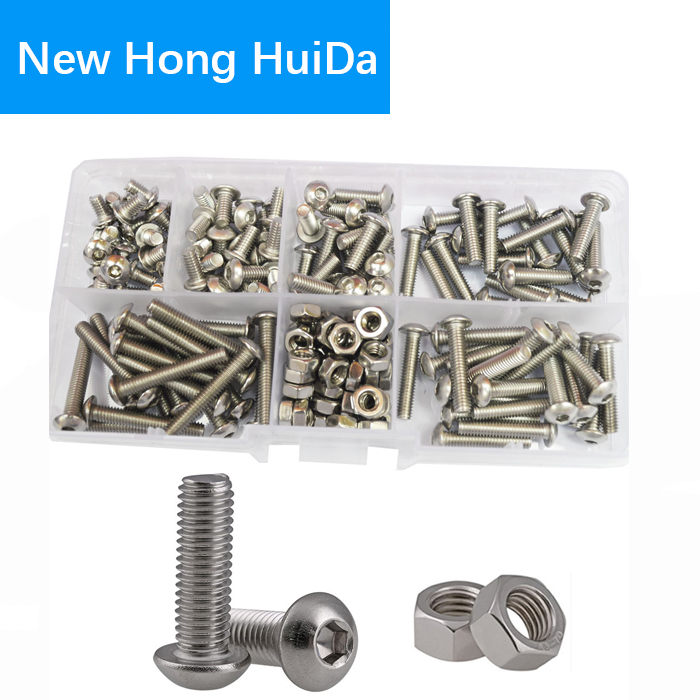 M4 Button Head Socket Cap Bolts Screw Nut Metric Allen Hex Drive Assortment Kit 170Pcs,304Stainless Steel