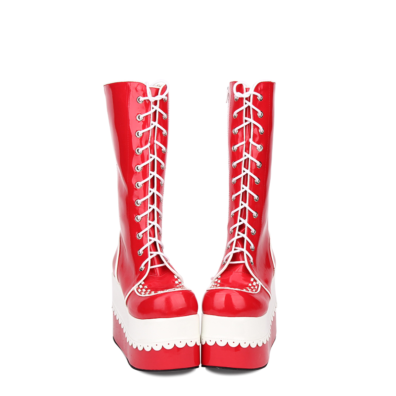 Angelic imprint New Fashion Punk Lolita style Knee High Winter Boots for Women High Heel Wedge Heel shoes size 35-46 9718 angelic imprint gothic lolita style platform shoes new fashion lolita sandals size 35 46 8276