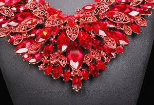 Image 5 - Sang trọng Lớn Ấn Độ Cô Dâu Bộ Trang Sức Cưới Bông Tai Vòng Cổ Bộ Pha Lê Bộ Đầm Dự Tiệc Trang Phục Trang Sức cho Cô Dâu Nữ