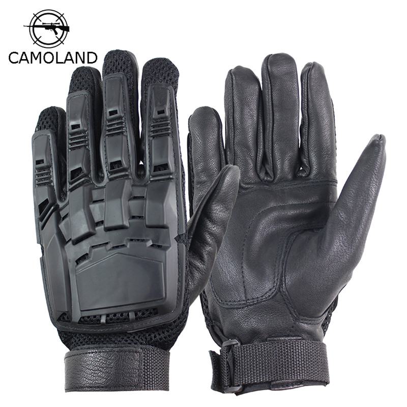 Men's Genuine Leather Gloves Real Sheepskin Black Touch Screen Tactical Gloves Fashion Hiking Bicycle Winter Full Finger Mittens