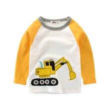 T shirts Boy Excavator Children's Clothing 100% Cotton baby Boy Kids T-shirt Girl Children Long Sleeve Tops Boys Clothing