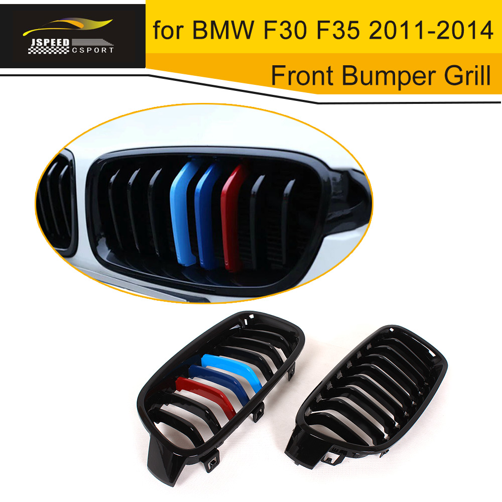ABS 3 Color paint Front Bumper Grill Grille for BMW F30 F35 2011 2014