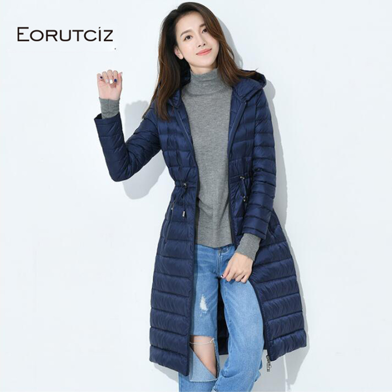 EORUTCIZ Winter Plus Size 4XL Long   Down     Coat   Women Ultra Light Hooded Jacket Slim Warm Vintage Black Autumn Duck   Down     Coat   LM185
