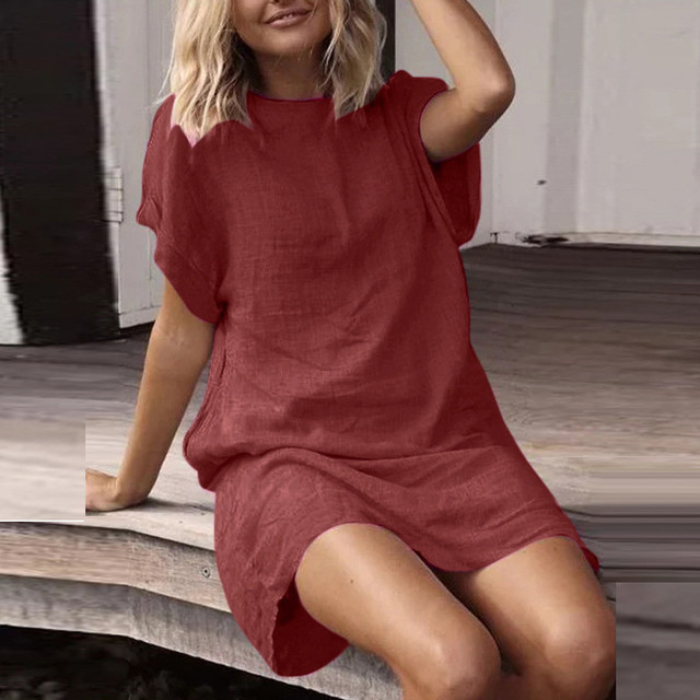 Women Summer Casual Solid Short Sleeve Dress Crew Neck Linen Dress Lady Sundress Beach Solid Mini Dress vestidos verano 2019